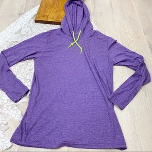 Gildan Purple Hooded Burn Out Sweatshirt Med 1832
